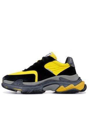 Женские кроссовки balenciaga triple s v2 black yellow