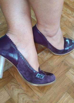Туфли натуральная лаковая кожа-замша на очень удобном каблуке killah