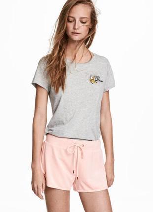 Пудровые велюровые шорты h&m xs пудровые шортики h&m домашние велюровые шортики
