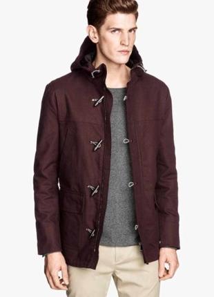 Идеальный бордовый дафлкот, куртка на клыках, плотный хлопок
