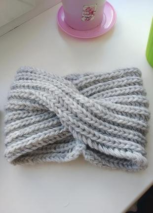 Теплая вязаная повязка на голову чалма тюрбан повязка для волос