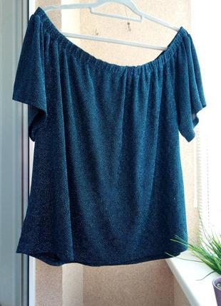 Красивая нарядная трикотажная блуза на плечи с блестящей нитью цвета аквамарин