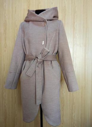 Демисезонное пальто с капюшоном беж 46-54