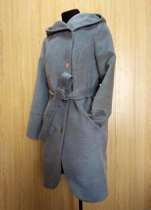 Демисезонное пальто с капюшоном серый 46-54