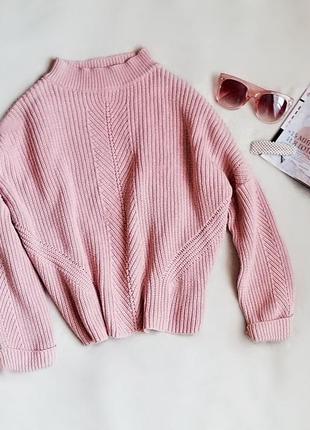 Дуже класний пудровий, ніжно рожевий вязаний світшот, кофта, topshop