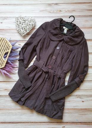 Теплая шерстяная кашемировая куртка полупальто с поясом