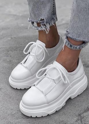 Рр 36-40 натуральная кожа люксовые стильные белые ботиночки на массивной платформе