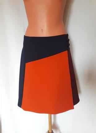 Демисезонная юбка- трапеция на запах колор-блок asos( размер 16)