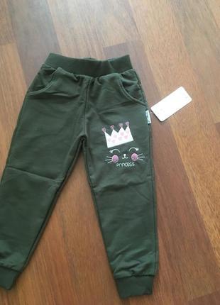 Штани для дівчинки хакі2 фото