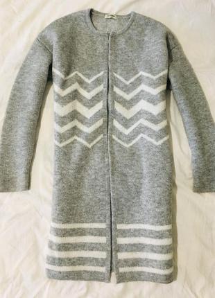 Кардиган длинный серый белый вязанный трикотажный пальто бомбер  - м s - m