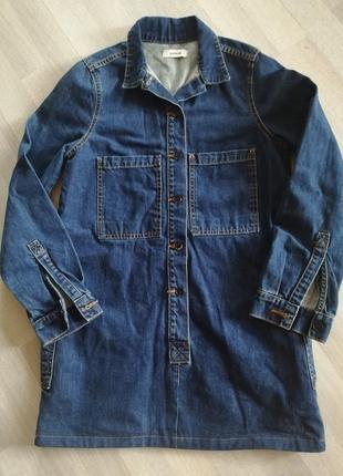 Джинсовая рубашка кофта туника плотный джинс
