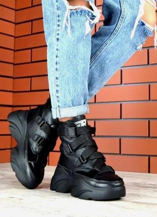 Рр 36-40 зима натуральная кожа+замш стильные спортивные ботинки с ремешками