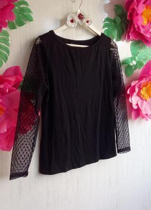 Кофточка блуза блузка актуальная черная с рукавами сеточка  фирменная длинный рукав h&m l