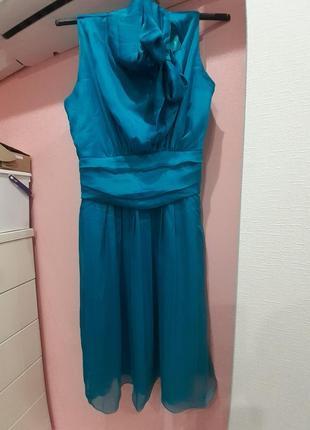 Бирюзовое шифоновое платье с бантом
