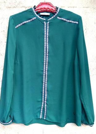 Ajs fashion очень красивая блуза с вышивкой,зеленая блуза