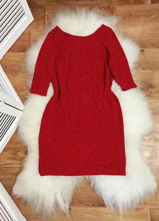 Нарядное блестящее красное платье, р. 20.