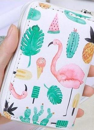 Хит! новый модный короткий кошелек на молнии фламинго кактусы мороженое ананасы