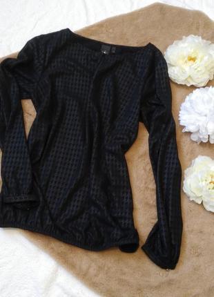 Блузка чорного кольору в принт гусячі лапки, черная блузка