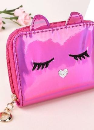 Есть цвета! новый  эффектный лаковый розовый короткий кошелек на молнии котик кот кошечка