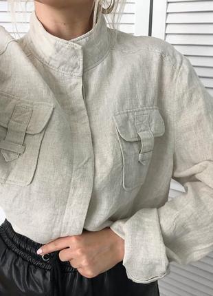 Сорочка в стилі сафарі, 100% натуральний льон! нереально стильна і якісна!