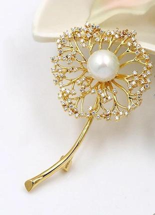 Элитная ювелирная брошь одуванчик с цирконием 70*40 мм