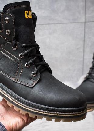 Зимние кожаные ботинки на меху cat caterpillar anti-glide black