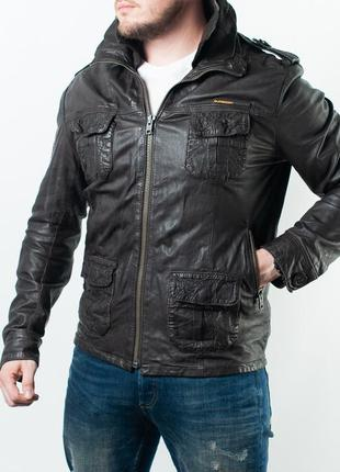 Мужская кожаная куртка superdry mens ryan biker leather jacket black