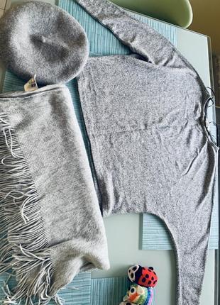 Комплект шарф палантин берет кроп свитер hm
