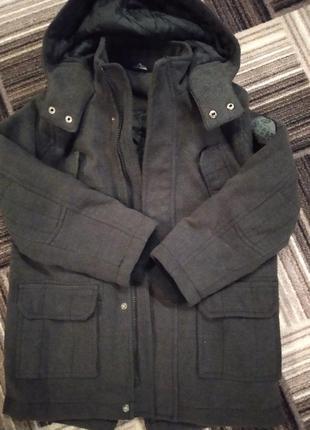 Теплое серое пальто