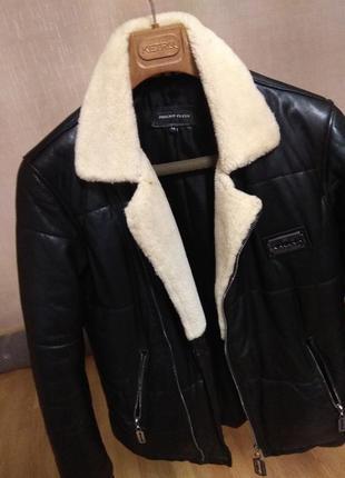 Утепленная кожанная куртка, мех цигейка