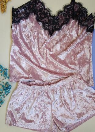 Пижама женская велюровая в наличии новая пудровый, нежно розовый цвет