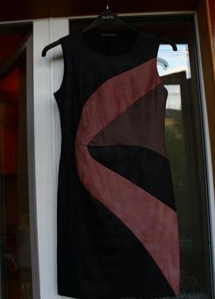 Платье, кожаное, черное, замшевое, плаття, сукня, офисное