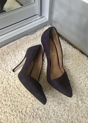 Туфли лодочки фиолетовые замша