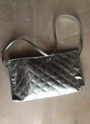 Женская сумочка женский клатч серебристый металлик