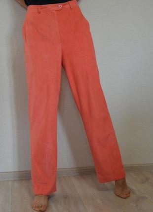 Свободные винтажные брюки под замш лососевого цвета ,размер 38
