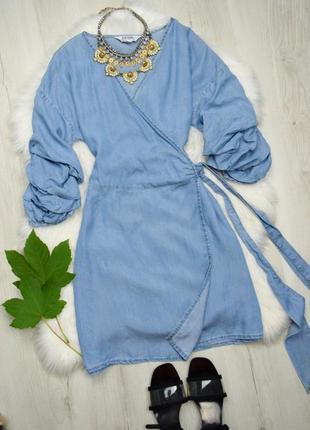 Джинсовое платье на запах бохо рукава