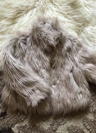 Шубка эко на девочку искусственный мех лама длинный ворс розовая мягкая стильная