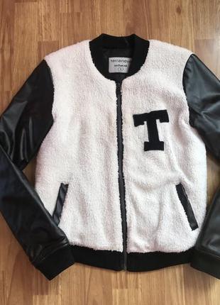 Стильный женский плюшевый теплый осенний бомбер куртка terranova