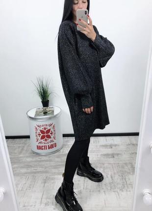 Платье оверсайз h&m плотная вязка с люрексом4 фото