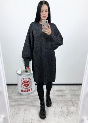 Платье оверсайз h&m плотная вязка с люрексом2 фото