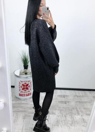 Платье оверсайз h&m плотная вязка с люрексом5 фото