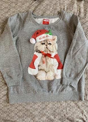 Свитшот кофта с котиком новогодняя рождество санта на флисе серый