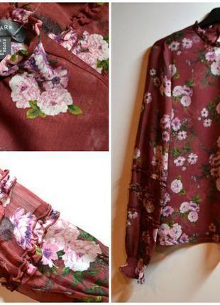 Новая блуза в цветы с шикарным рукавом