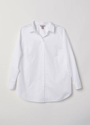 Белая хлопковая рубашка h&m
