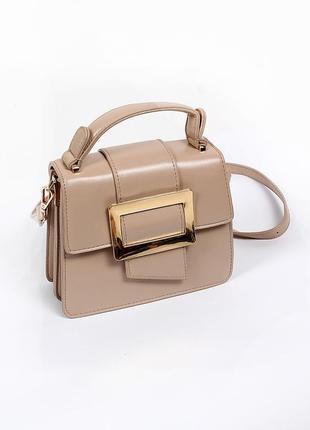 Стильная кросс-боди сумка из гладкой эко-кожи / сумочка через плечо с ручкой / беж