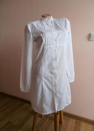 Удлинённая белая рубашка, платье, туника