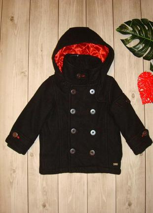 2-3 года пальто шерстяное с капюшоном