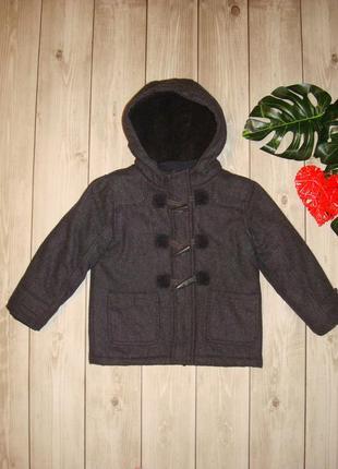 4-5 пальто шерстяное, зимнее , на меху, с капюшоном