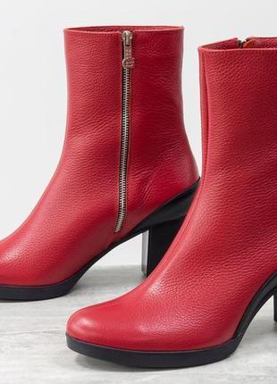 Кожаные красивые ботинки на каблуке осень-зима