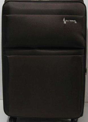 Дорожный тканевый чемодан ( коричневый большой) 19-06-028
